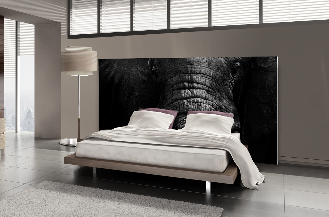 T te de lit l phant textilvision for Photo tete de lit