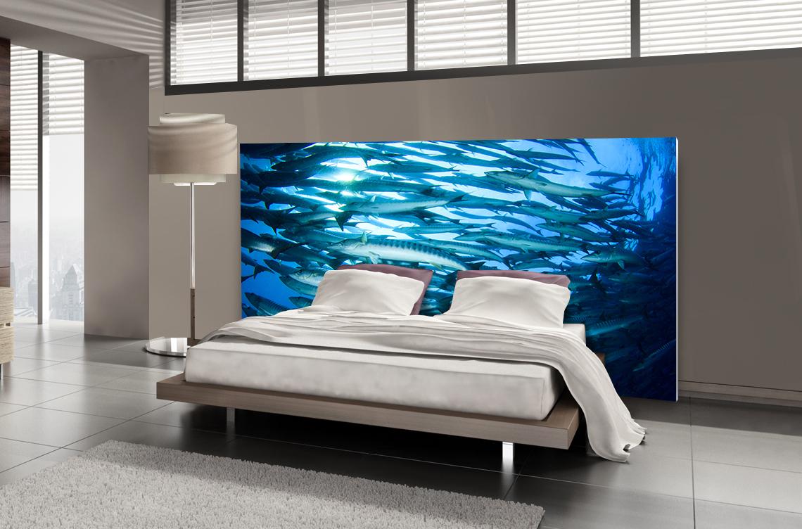 t te de lit poissons textilvision. Black Bedroom Furniture Sets. Home Design Ideas