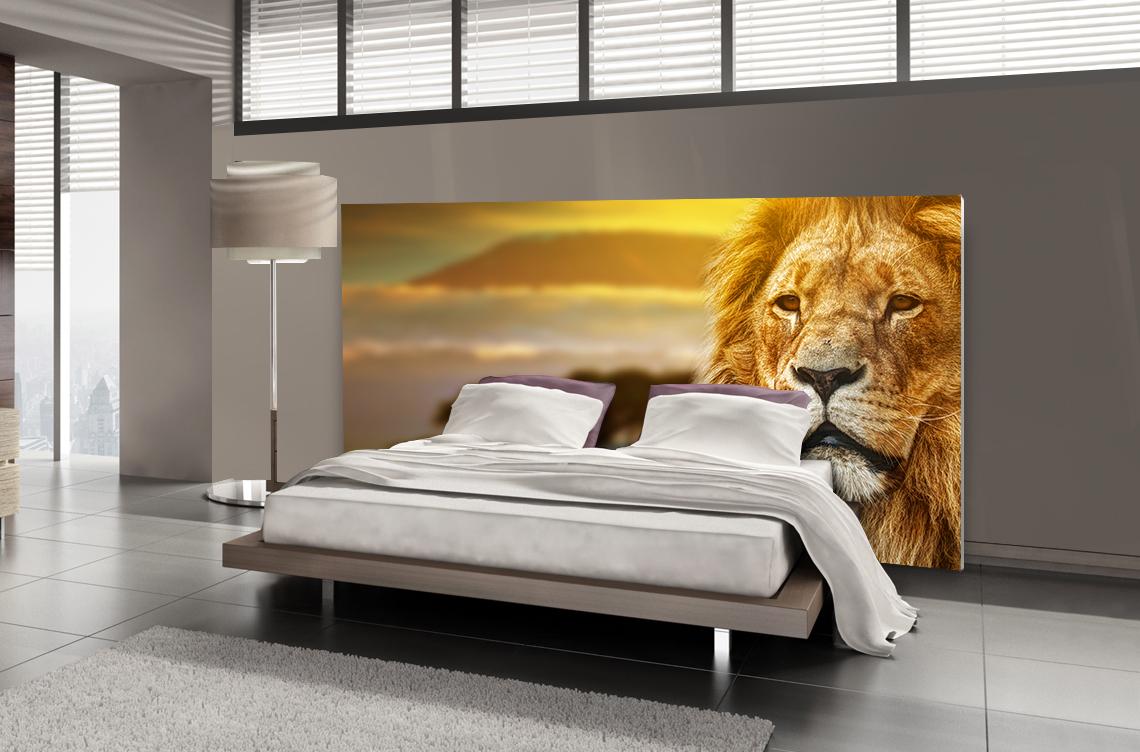 Tête de lit lion - Lit de 140
