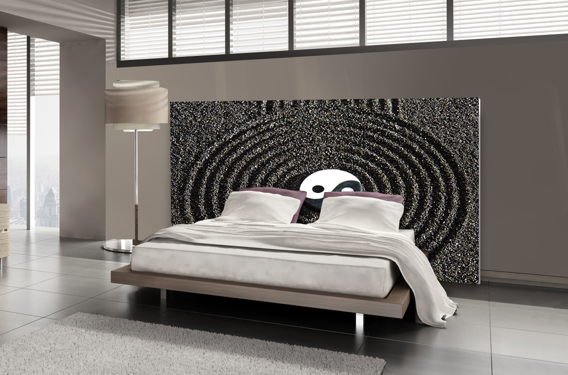 t te de lit ying et yang textilvision. Black Bedroom Furniture Sets. Home Design Ideas