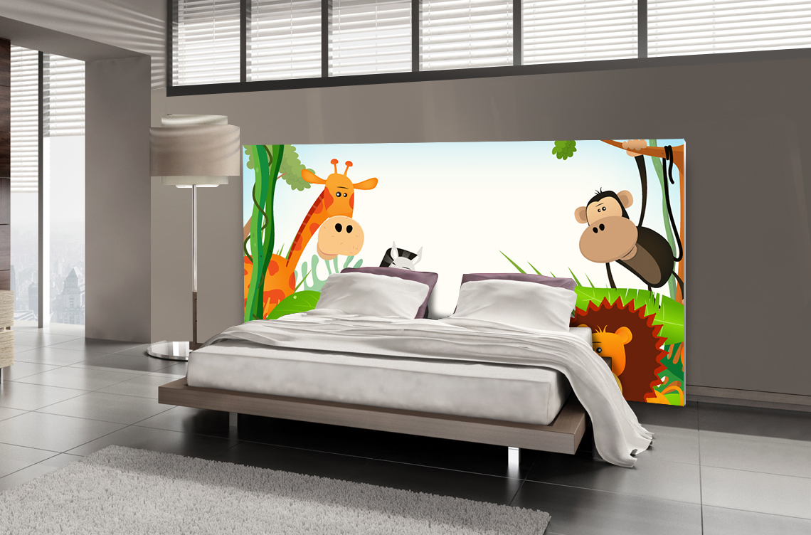 t te de lit jungle textilvision. Black Bedroom Furniture Sets. Home Design Ideas