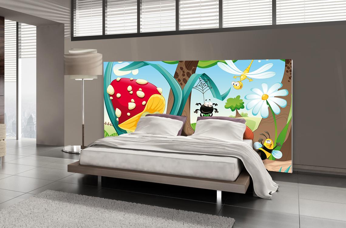 Tête de lit dessin animé insectes - Lit de 140