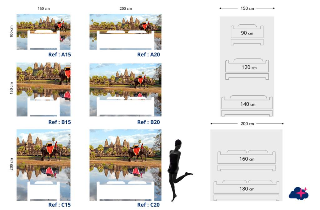 Tête de lit Angkor Vat - Plan