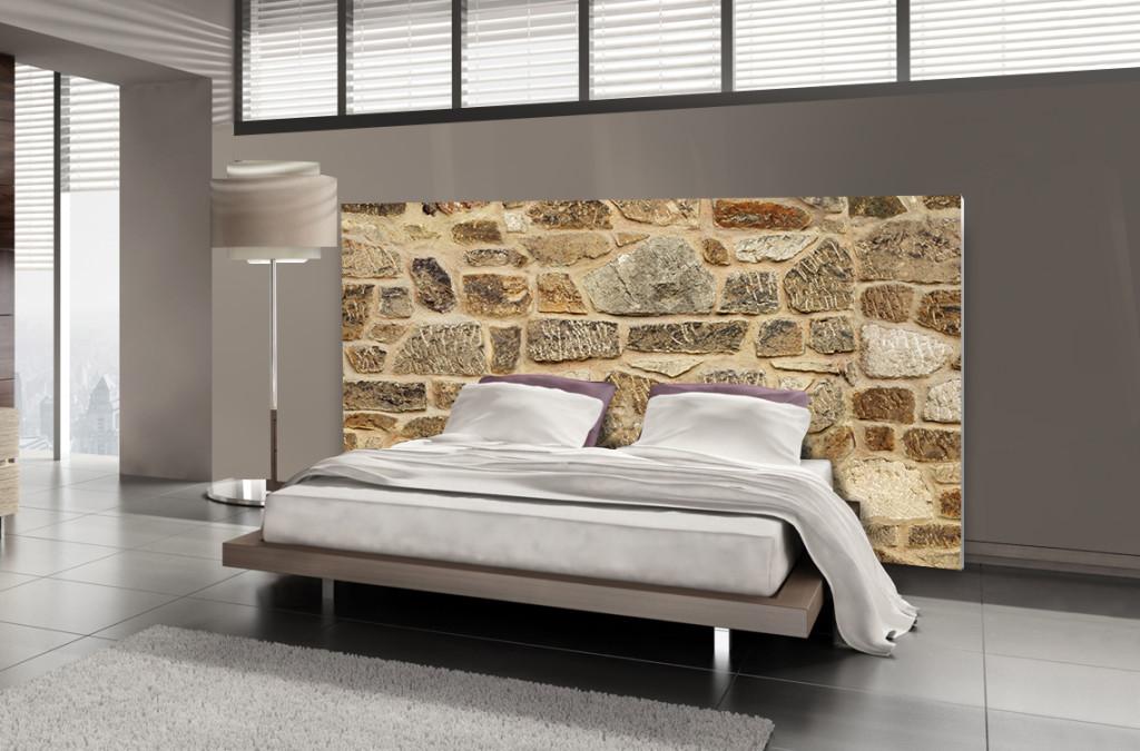 tête de lit pierre - motif pierre de parement - mds