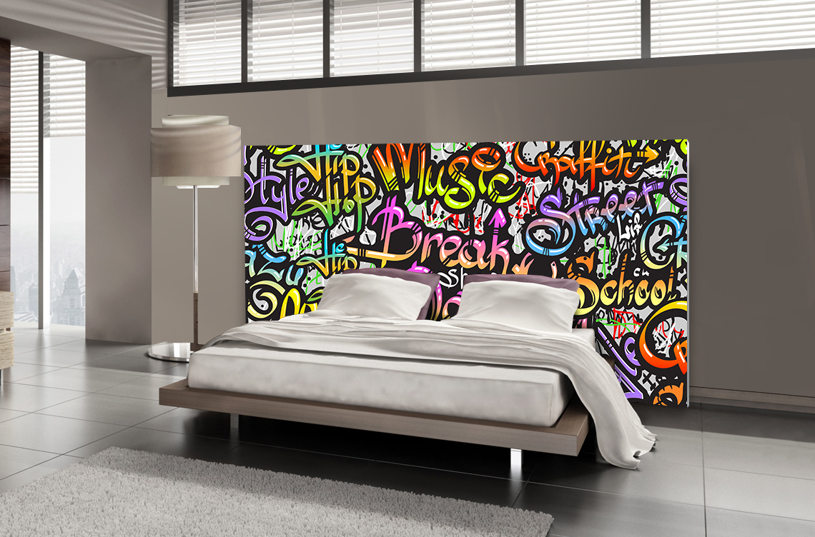 t te de lit graffiti street music textilvision. Black Bedroom Furniture Sets. Home Design Ideas