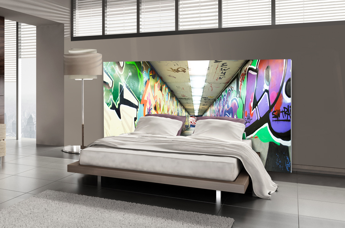 t te de lit graffiti tunnel urbain textilvision. Black Bedroom Furniture Sets. Home Design Ideas