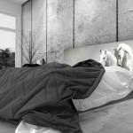 Tête de lit chevaux blancs - Lit de 140