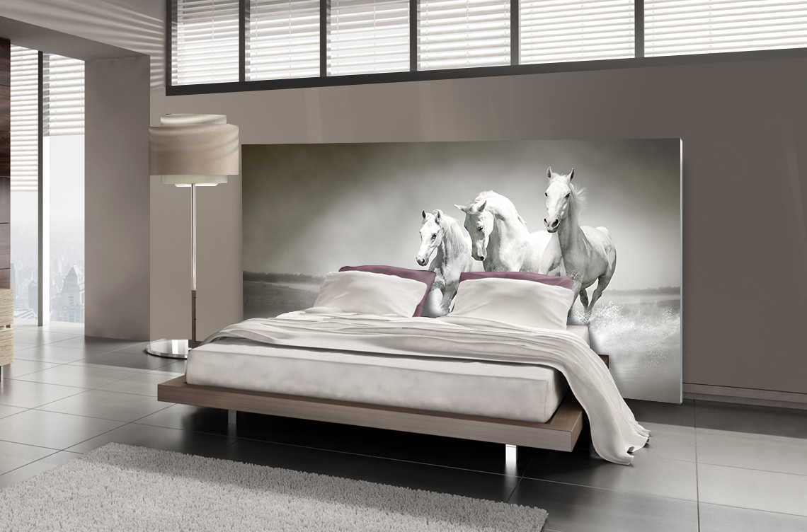 T te de lit chevaux blancs textilvision - Tete de lit en forme de coeur ...