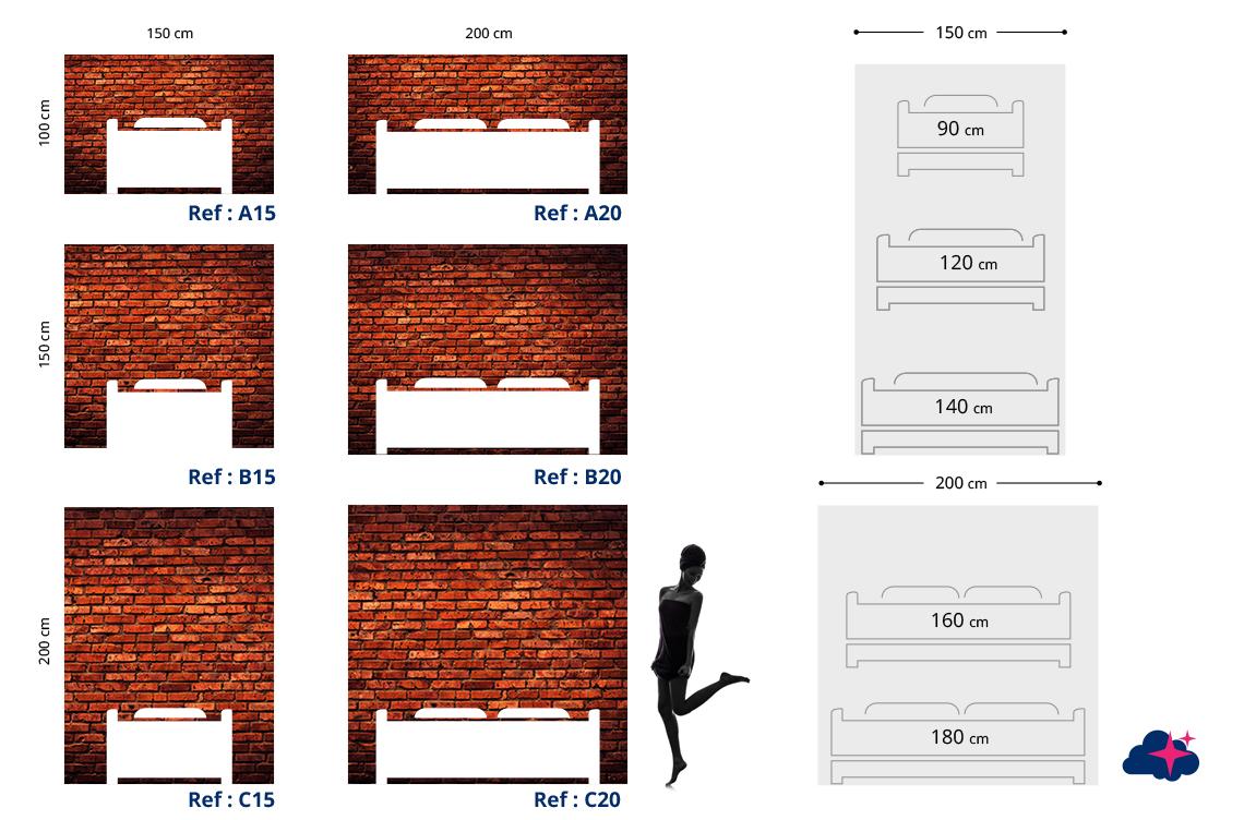 t te de lit brique rouge motif industriel mds. Black Bedroom Furniture Sets. Home Design Ideas