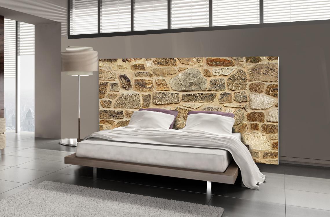 T te de lit pierre motif pierre de parement mds - Tete de lit en forme de coeur ...
