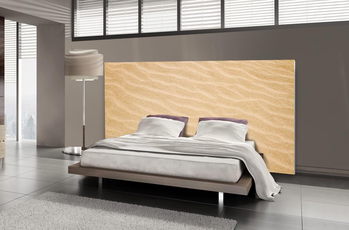 t te de lit sable motif plage mds. Black Bedroom Furniture Sets. Home Design Ideas