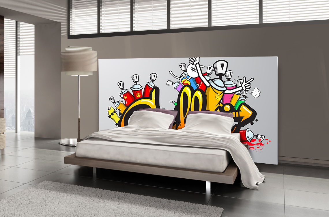 t te de lit graffiti textilvision. Black Bedroom Furniture Sets. Home Design Ideas