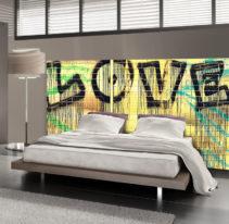 Tête de lit graffiti love - Lit de 140