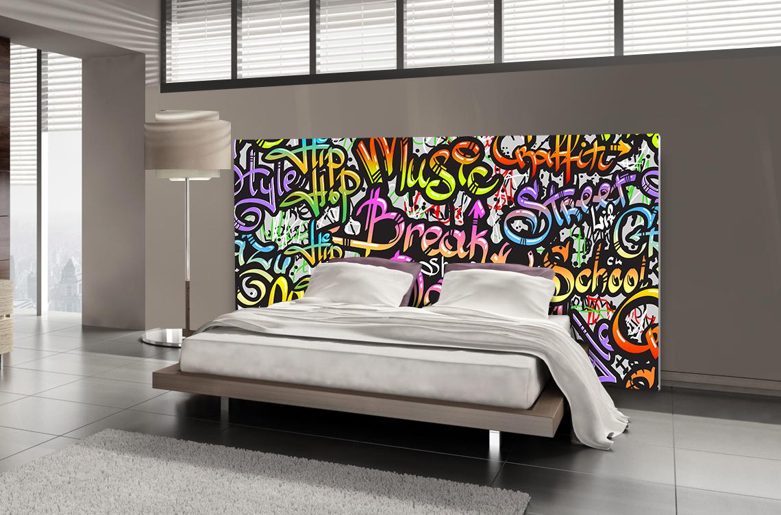 Tête de lit graffiti musique - Lit de 140